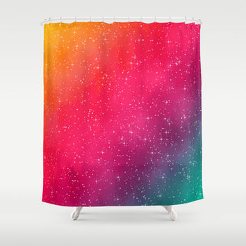 Colorful Galaxy Shower Curtain by Texnotropio