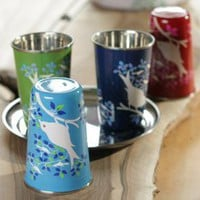 Hand painted metal cups ::Finch::