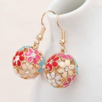 Colorful Flowers Ball Statement Earrings