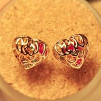 Colors In Heart Rhinestone Earrings
