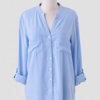 Seascape Button-Up Blouse