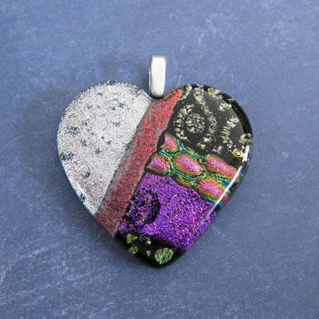 Large Dichroic Heart, Colorful Heart, Mothers Day Jewelry, Gift for Girlfriend - Secret Love - 4629 -4