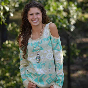 Turquoise and Cream Cold Shoulder Sweater
