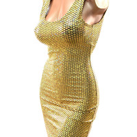Gold Mermaid Scale Tank Dress