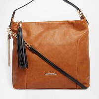 River Island ShouchShoulder Bag in Tan with Tassle at asos.com