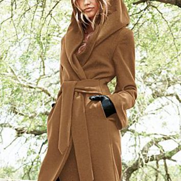 Brown (BR) Hooded Wrap Coat