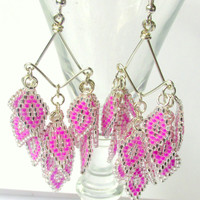 Chandelier Earrings, Beaded Dangle Earrings, Belly Dance Earrings, Bellydance Accessory, Belly Dance Costume, Custom Colors, Prom 2015