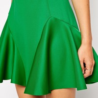 ASOS Skater Skirt With Fluting In Scuba