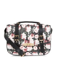 Black Leather-Look Floral Print Satchel