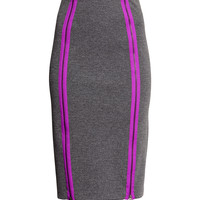H&M - Melange Pencil Skirt - Dark gray melange - Ladies