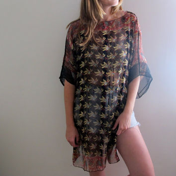 Vintage See Through Bohemian Tunic Ponho Dress Boho Gypsy Paisley Indie Hippie Folk Sheer