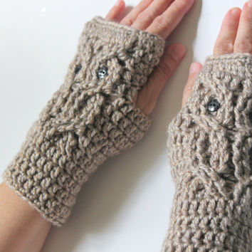 Finger less Gloves, Crochet Mittens, Owl Gloves