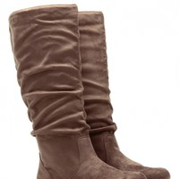 Taupe Faux Suede Go-To Slouch Boot