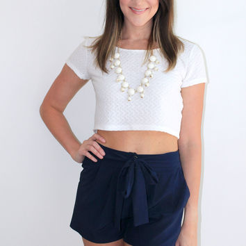 """Bright Lights"" Bow Shorts in Navy"