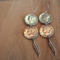 Double Mercury Dime Dangle Earrings with Feather Drops and Sterling Hooks..
