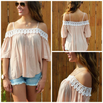 Pettygrove Nude Long Off Shoulder Top
