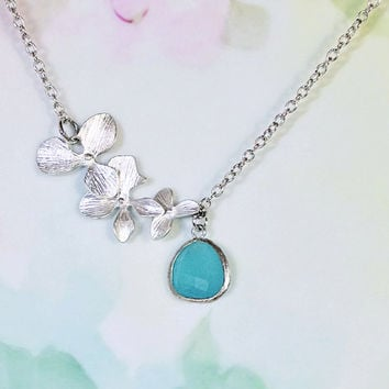 Aquamarine Necklace  Cascading Blossom Necklace - Aquamarine Blue Glass Pendant Necklace Wedding, Bridesmaid Necklace, Statement Jewelry