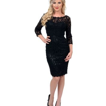Pre-Order - Unique Vintage Black Three-Quarter Sleeve Fitted Lace Cocktail Dress