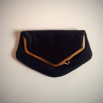 Vintage 70's Foldover Clutch Black Fabric Asymmetric Kiss Lock Purse