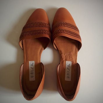 Vintage 90's Woven Shoes Brown Leather Almond Toe Flats