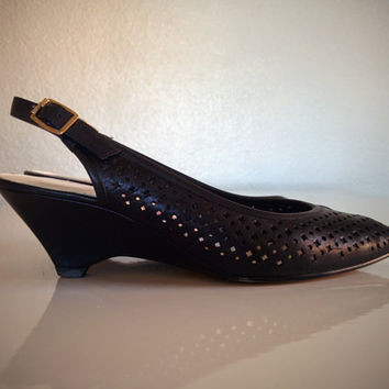 Vintage 90's Wedge Shoes Black 100% Leather Perforated Slingback Sandals