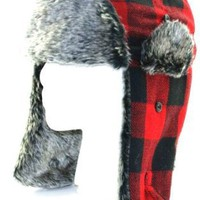 Red Buffalo Plaid Wool Faux Fur Trooper Trapper Pilot Aviator Hat for Men and Women Medium Large