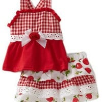 Little Lass Baby-Girls Newborn 2 Piece Scooter Polka Dot Cherry Shirt Set