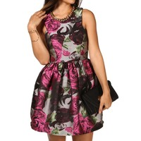 Pre-Order: Gray Ladylike Floral Cocktail Dress