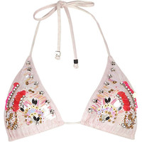 Pink embellished triangle bikini top