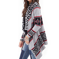 FOREVER 21 Tribal Patterned Cardigan Heather Grey/Red