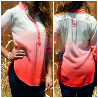 On The Horizon Coral Dip-Dyed Buttoned Top
