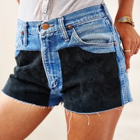 Urban Renewal Denim + Suede Chap Short - Urban Outfitters