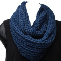 Super Soft Acrylic Chunky Knitted Circle Loop Scarf-DK. Blue