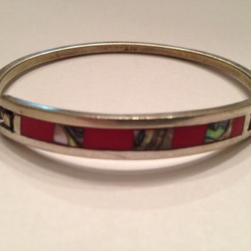 Vintage Sterling Silver 925 Red and Abalone Inlay Bracelet