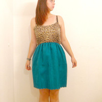 Leopard Print Sun Dress teal skirt scallop hem by ThisIsClothing