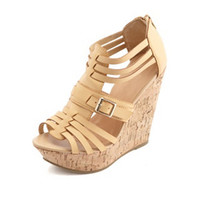 BELTED STRAPPY HUARACHE WEDGE SANDALS