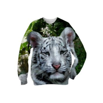White Bengal Tiger Sweatshirt created by ErikaKaisersot | Print All Over Me