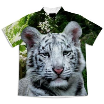 White Bengal Tiger Short Sleeve Blouse created by ErikaKaisersot | Print All Over Me