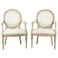 A Pair of Painted Hepplewhite Oval Back Fauteuil Armchairs
