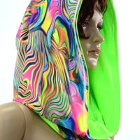 Neon UV Glow Tropical Swirl & Green Cowl Hood