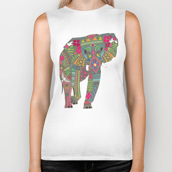 painted elephant aqua spot Biker Tank by Sharon Turner | Society6