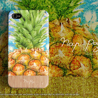 Apple iphone case for iphone iphone 5 iphone 5s iphone 5c iphone 4 iphone 4s iPhone 3Gs : tropical pineapple with wood (not real wood)