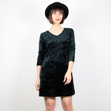 Vintage Crushed Velvet Dress Mini Dress 1990s Dress 90s Dress Soft Grunge Dress Dark Green Velour Goth Club Kid Dress M L Extra Large XL