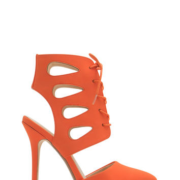 Teardrop Cut-Out Lace-Up Heels