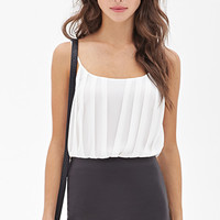 FOREVER 21 Pleated Chiffon Bodysuit