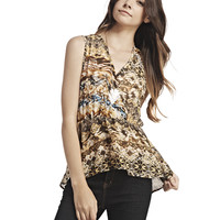 Tribal Chiffon Surplice Top | Wet Seal