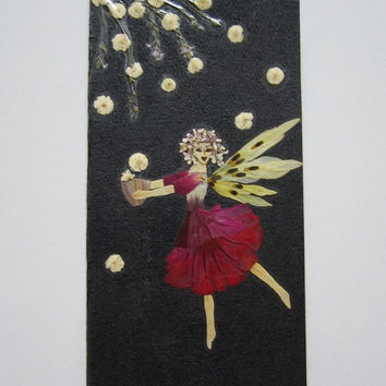 "Handmade unique greeting card ""The night is magic"" - Decorated with dried pressed flowers and herbs - Original art collage."