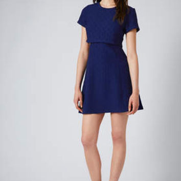 BASKET WEAVE CROP OVERLAY SKATER DRESS