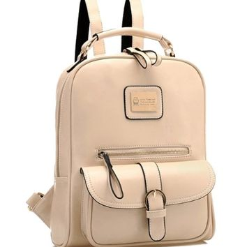 Tinksky® Vintage Retro British Wind Shoulders Bag Fashion Girl's Student Backpack School Bag (Beige)