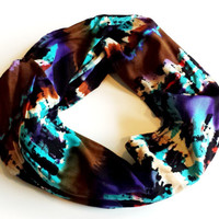 Tribal Striped Silky Infinity Scarf Womens Fashion Scarves Ethnic Ombre Multicolor Scarf Fall Fashion Eternity Loop